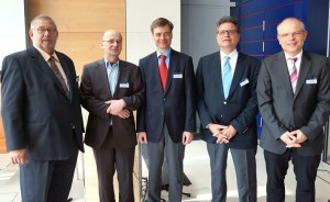 The speakers of the official celebration (from the left.): ICMA President Remy Franck, Stefan Lang (Deutschlandradio), Siegwald Bütow, Manager of the WDR-Sinfonieorchester, Michael Haefliger, Director of the Lucerne Festival, Prof. Wolfgang Rathert, Munich University Photo: Martin Hoffmeister