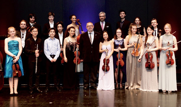 ICMA President Remy Franck, the Liechtenstein Academy's General manager Drazen Domjanic and the young musicians of the 5th Gala concert