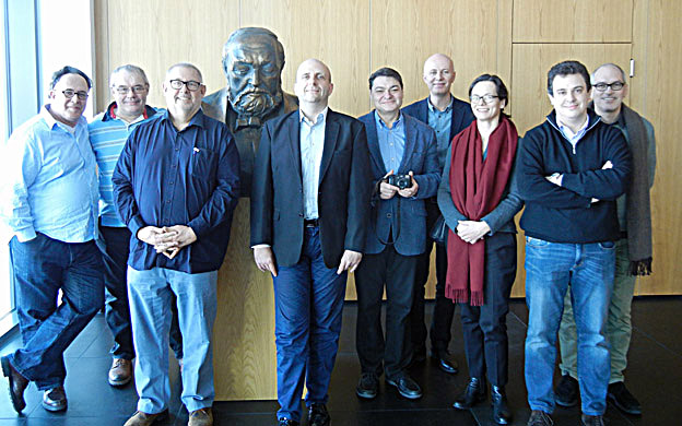 The Jury with the General Manager of the Penderecki Centre, Adam Balas (4th from the right) at the bust of Krzysztof Penderecki